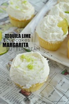 Soft buttery cupcakes loaded with lime zest and tequila! Tequila Lime Cupcakes with Margarita Buttercream are my new favorite way to celebrate. Drunken Cupcakes, Lime Cupcakes, Yummy Cupcakes, Cupcake Cookies, Margarita Cupcakes, Buttercream Cupcakes, Margarita Recipes, Liquor Cupcakes, Gastronomia