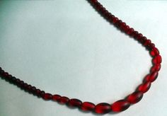 Vintage Graduated red glass bead necklace or choker #10642