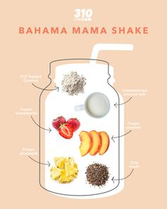 Transport to an island getaway with this Bahama Mama Shake that is full of protein, healthy fats, & essential vitamins & minerals. Get the full recipe here. 310 Shake Recipes, Protein Shake Recipes, Quick Healthy Meals, Healthy Drinks, Healthy Recipes, Healthy Fats, 310 Nutrition Shake, Magic Bullet Recipes, Weight Loss Smoothie Recipes