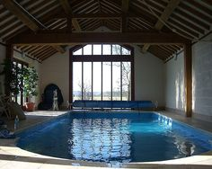 Beautiful Indoor Swimming Pools on Swimming Pool Decor Swimming Pool Photos, Swimming Pool House, Luxury Swimming Pools, Swimming Pool Designs, Small Indoor Pool, Indoor Swimming Pools, Outdoor Pool, Pool House Designs, Round Pool