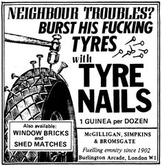 Viz Tyre nails advert Stupid Funny Memes, You Funny, Hilarious, Funny Shit, Funny Vintage Ads, Vintage Advertisements, Happy Birthday Funny Humorous, Funny Road Signs, Cartoon Network Adventure Time