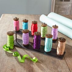 Wooden Spools Of Ribbon