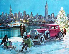 vintage art Christmas winter City Scene old car tree children sled Illustrations Poster, Car Illustration, Arrow Painting, Car Painting, Harry Anderson, Decoupage, Digital Museum, City Scene, New York Art