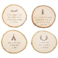 I saw these coasters at Indigo. I specially like the one of the canoe :) Cool Coasters, Wooden Coasters, Chalet Chic, Chapters Indigo, Grey Room, Indoor Activities For Kids, Wood Slices, Country Chic, Coaster Set