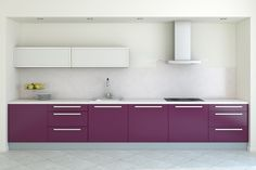 Purple grape color for this very modern kitchen. www.PrestigePaints.com