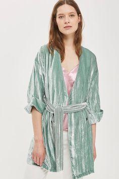 Velvet Wrap Kimono Jacket
