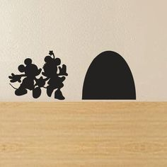 "Mickey and Minnie's Mouse House Wall Decal(6.5""X 2.5"",black): Amazon.co.uk: Kitchen & Home"