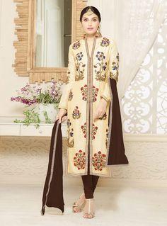 Beige Blue Cotton Churidar Salwar Kameez 83066