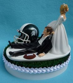 Wedding Cake Topper - Michigan State St. University Spartans Football Themed Turf Topper