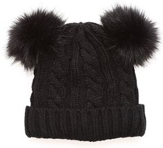 896323b5720 MIRMARU Women s Winter Knitted Faux Fur Double Pom Pom Beanie Hat with  Plush Lining.(Black) at Amazon Women s Clothing store