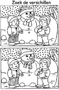 winter- what's different? Winter Art, Winter Colors, Winter Theme, Montessori Activities, Color Activities, Free Coloring Pages, Printable Coloring Pages, Hidden Picture Puzzles, Hidden Pictures