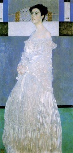 <마르가레트 스톤보로-비트겐슈타인의 초상>, 구스타프 클림트, 1905. 철학자 루트비히 비트겐슈타인의 누이인 마르가레트를 그린 것이다. 이 그림은 마르가레트의 아버지가 결혼은 앞둔 그녀를 위해 선물로 준 것이라 한다. 마르가레트는 미모와 지성, 재력을 모두 겸비한 선진 여성이었는데, 그림은 그녀의 본 모습과 많이 달랐기에 마르가레트는 이 그림을 좋아하지 않았다. 그래서 다락방에 넣어 놓고 결혼하여 새 보금자리고 갈 때까지 꺼내보지 않았다나.... 하지만 수 놓인 하얀 드레스가 정말 예뻐서 내 눈에 띄었다. 결혼을 앞둔 신부의 뚜렷한 표정에서 독립심과 뚜렷한 주관을 느낄 수 있다.