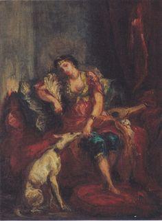 "Künstler - Eugene Delacroix - ""Algerierin mit einem Hund ... Eugene Delacroix. Algerierin mit einem Hund"