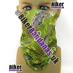 Green Paisley Flower Multifunctional Headwear / Neck Tube Bandana for Men and Women. One of over 400 Styles for Men and Women