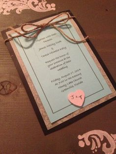 Southern Charm Aqua and Black Wedding Invitiation with Twine Bow and Pink Wooden Initial Heart