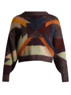 Knitted with a vibrant patchwork pattern, this deep-purple Cadelia sweater correlates with Isabel Marant's trademark cool aesthetic. It's crafted in Italy to a relaxed, cropped shape with enhancing dropped shoulder seams, then complete with chunky ribbed trims. Style it with slouchy outsized jeans – choose a high-rise pair for an on-brand silhouette-honouring feel.