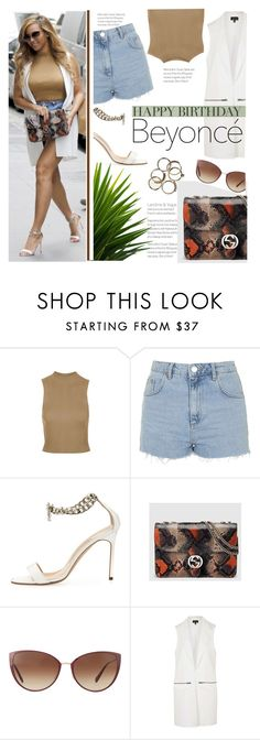 """""""Happy Birthday, Beyonce!"""" by stylect ❤ liked on Polyvore featuring Topshop, Manolo Blahnik, Gucci, Oliver Peoples, polyvorecommunity, polyvoreeditorial, polyvorecontest and happybirthdaybeyonce"""