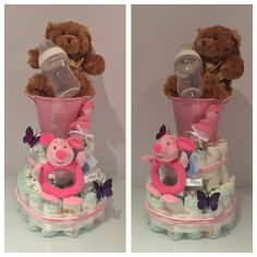 Pink Bucket 2 tier nappy cake. Such a great idea for a gift for a newborn! All the things a mum will need for her new little one presented in an impressive way!