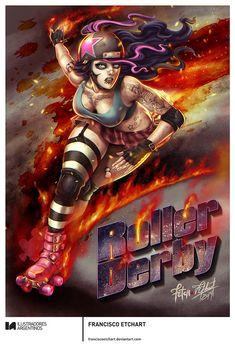 © FRANCISCO ETCHART | Ilustración para la muestra Roller Derby de Ilustradores Argentinos | #rollerderby | Fotos: https://www.facebook.com/media/set/?set=a.725585730870003.1073741832.100296976732218&type=1
