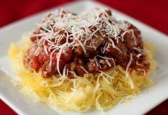 Roasted Spaghetti Squash with Tomato Meat Sauce by pepperlynn.com #Spaghetti_Squash #pepperlynn