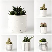 Set of ceramic planters. Polish design. ZESTAW 1 doniczka duża + 1 doniczka mała seria M, dodatki - doniczki i wazony