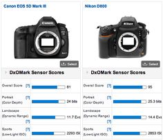 DxOMark verdict: Nikon D800 – 95, Canon 5D Mark III – 81 - Nikons are best!!  I bet the D3100 would have scored even better!