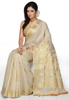 Off White and Golden Color Pure Cotton Kerala Kasavu Saree with Blouse: SPN2185