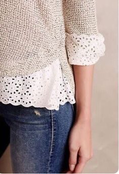 I like the lace details of this sweater...so cute! Perfect for teaching and casual!