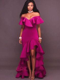 Ericdress Ruffle Sleeve Slash Neck Asymmetrical Maxi Dress