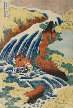 Katsushika Hokusai - Two Men Washing A Horse in A Waterfall