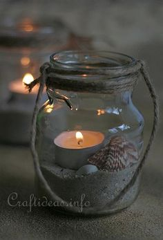 Instruction:  All you need to do is first tie the rope around the rim of the glas for decorative reasons and also to hide the screw-top seam on the top of the jar. Then fill the jar with sand, shells and a tea light.
