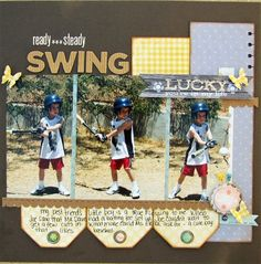 Scrapbooking Layouts, Scrapbooking Ideas, Cool Scrapbooking Tools and More! Baseball Scrapbook, Kids Scrapbook, Scrapbook Page Layouts, Scrapbooking Ideas, Scrapbook Cards, Creating Keepsakes, Cloth Paper Scissors, Picture Layouts, Card Candy
