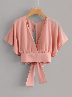 Tie Back Butterfly Sleeve Blouse You are in the right place about Women's Top dressy Here we offer you the Girls Fashion Clothes, Teen Fashion Outfits, Girl Fashion, Fashion Dresses, Clothes For Women, Fashion Moda, 90s Fashion, Crop Top Outfits, Cute Casual Outfits