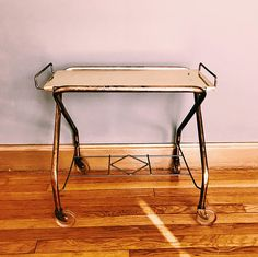 Vintage Gold Metal Rolling Bar Cart w/ Original Casters /