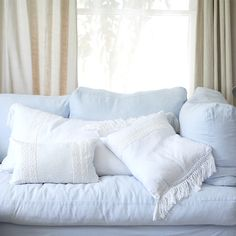 Summer Additions: White Linen Crochet & Fringe Pillows available in stores and shabbychic.com