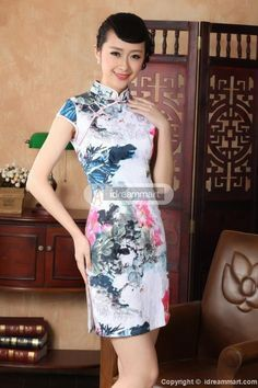 #idreammart Women's White Floral Cotton Peony Flowers Print Short Sleeve Mini Chinese Dress - iDreamMart.com