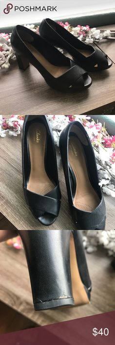 Black Clark's size 9 1/2 Beautiful and super comfortable black heels fit well comfortable all day.  Small amount of wear on lower heels from driving. Shown in pics Clarks Shoes Heels