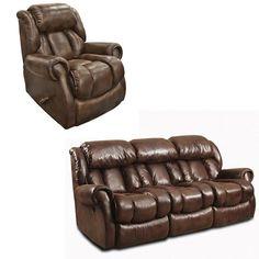Leather Sofas  Piece Reclining Sofa and Rocker Recliner in Espresso Nebraska Furniture Mart
