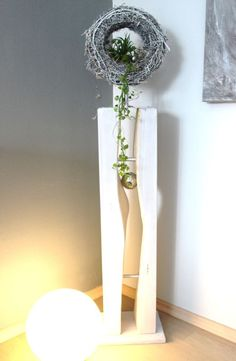 gs58 dekos ule f r innen und aussen gro e s ule wei gebeizt aus neuem holz dekoriert mit. Black Bedroom Furniture Sets. Home Design Ideas