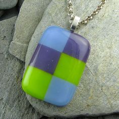 Fused Glass Bullseye Pendant in Teal Lime White by LindsaysDesigns, $36.00