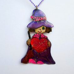 handmade Pendant cute heart handed witch made of by violettstyle, €28.52