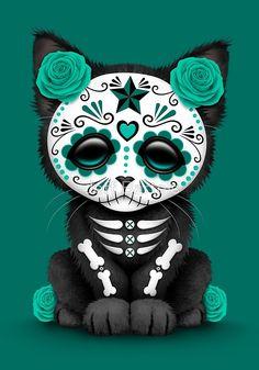 Cute Teal Blue Day of the Dead Kitten Cat by Jeff Bartels