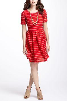Scalloped Stripes Dress - Anthropologie.com
