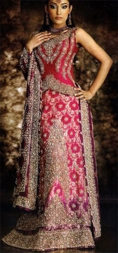 Pink and purple lehenga with heavy embroidery
