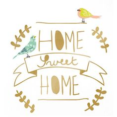 Sticker mural en vinyle dor� Home Sweet Home Mimi Lou