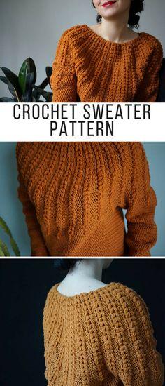 Cool Crochet Sweater! Crochet Sweater pattern PDF - Goldenrod Sweater - top down one piece crochet pattern