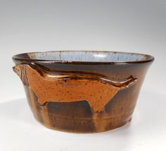 Ceramic dog food water bowl pottery dachshund by WillowTreePottery