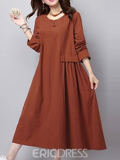 New Fall 2015 Women's Fashion Vintage Loose Big Yards National Wind Linen Cotton Dress High Quality Casual Dress Female Cheap Dresses Online, Cheap Maxi Dresses, Stylish Dresses, Fashion Dresses, Women's Fashion, Long Linen Dresses, Cotton Dresses, Dress Long, Modele Hijab