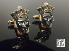 RARE Vintage cufflinks Swank figural African tribal face mask black and yellow gold, 1950s 1960s mid-century Mad Men era cuff links gift by VintageMensFinery on Etsy