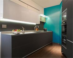 Different Colored Cabinets Top U0026 Bottom + Smashing Bolt Of Color Dramatic  Contemporary Kitchen By Nika